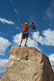 Rock climber nearing the summit. Royalty Free Stock Photos