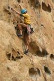 Rock climber on potholes route Stock Photo