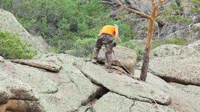 Rock climber stock video