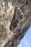 Rock climber rappeling Royalty Free Stock Images