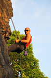 Rock climber repelling Royalty Free Stock Photos
