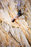 Rock climber resting after exhausting attempt Stock Photography