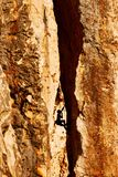 Rock climber in a rock chimney Stock Image