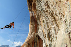 Rock climber on the rope Royalty Free Stock Photo