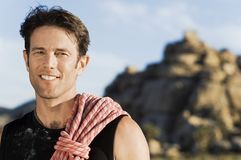 Rock climber with Rope on Shoulder, (portrait) Stock Images
