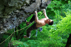 Rock climber on route Stock Image