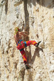 Rock climber on the route Royalty Free Stock Photo