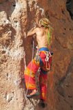 Rock climber on the route Royalty Free Stock Images