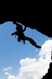 Rock climber silhouette Stock Photos