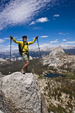 Rock climber on the summit. Stock Photos