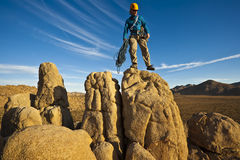 Rock climber on the summit. Stock Photography