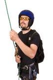 Rock-climber in sun helmet Stock Photo