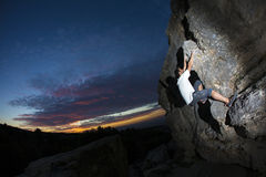 Rock Climber at sunset Royalty Free Stock Photos