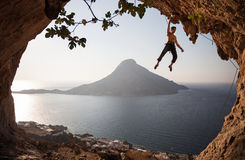 Rock climber at sunset. Kalymnos Island, Greece. Stock Photo