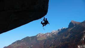 Rock climber in the Swiss Alps Stock Photography
