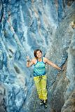 Rock climber on the top Stock Image