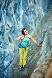 Rock climber on the top Royalty Free Stock Photo