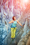 Rock climber on the top Stock Photo