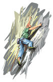 Rock climber. Vector illustration of extreme rock climber Royalty Free Stock Image