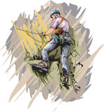 Rock climber. Vector illustration of Via Ferrata climber Stock Images