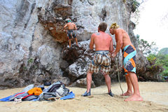 Rock climbers. KRABI, THAILAND - JANUARY 25 : Unidentified rock climbers during a climbing session on January 25, 2011 in Krabi, Thailand. Rock climbing in Krabi Royalty Free Stock Image