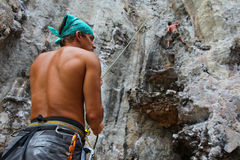 Rock climbers. KRABI, THAILAND - JANUARY 25 : Unidentified rock climbers during a climbing session on January 25, 2011 in Krabi, Thailand. Rock climbing in Krabi Stock Images