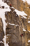 Rock climbers. Two climbers on cliff in Banff National Park Royalty Free Stock Photography