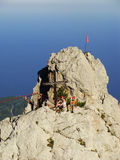 Rock climbers at Ai-Petri summit, Crimea Royalty Free Stock Photography