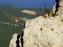 Rock climbers at Ai-Petri summit, Crimea Royalty Free Stock Photo