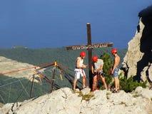 Rock climbers at Ai-Petri summit, Crimea. Peninsula, Ukraine royalty free stock photography