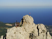 Rock climbers at Ai-Petri summit, Crimea Royalty Free Stock Images