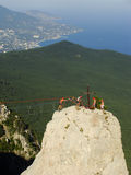 Rock climbers at Ai-Petri summit, Crimea Stock Photography
