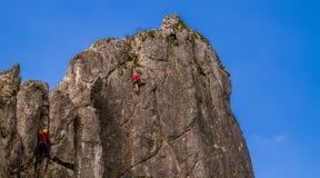 Rock climbers - Brama Bolechowicka, Bolechowice, Poland Royalty Free Stock Photography