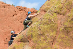 Rock climbers in Colorado Garden of the Gods on vertical climb Royalty Free Stock Photography