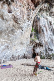 Rock climbers on Railay beach. Stock Photos
