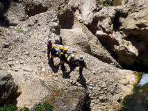 Rock Climbers In The Canyon River Royalty Free Stock Photography