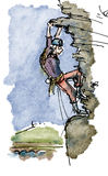 Rock climbing. Active rock climbing cartoon illustration Stock Images