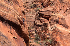 Rock Climbing. A woman rock climbing on cliffs in Zion National Park of southwest Utah stock photo