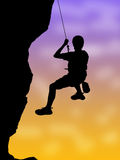 Rock climbing. Illustration of people climbing mountain Stock Photo