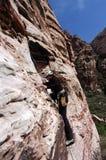 Rock climbing. Woman climbing in the Red Rocks near Las Vegas Nevada Stock Image