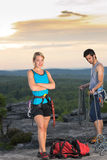 Rock climbing active people on top sunset Royalty Free Stock Photos