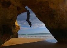 Rock climbing at Algarve Stock Photography