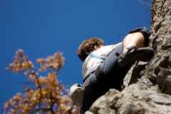 Rock climbing in the alps Stock Photo