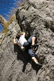 Rock climbing in the alps Royalty Free Stock Photo
