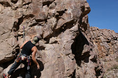 Rock climbing in Arizona. Rock climber and rock formations in Chino Valley, Arizona stock photos