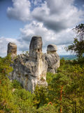 Rock Climbing Bohemia Sandstone Towers Landscape Place. Rock town - Hruba Skala in Protected area - Bohemian Paradise, Czech Republic. Most popular Czech trip royalty free stock image