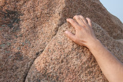 Rock climbing. Close-up finger Royalty Free Stock Image