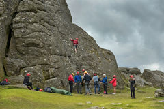 Rock climbing in Cornwall, south west England Royalty Free Stock Image