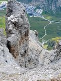 Rock climbing in dolomites mountains royalty free stock photo