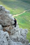 Rock climbing in dolomites mountains royalty free stock image